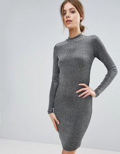 Read more about Y a s shimmer bodycon long sleeved dress - silver