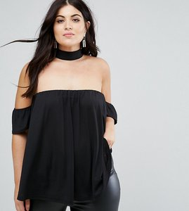 Read more about Asos curve off shoulder top with choker neck - black