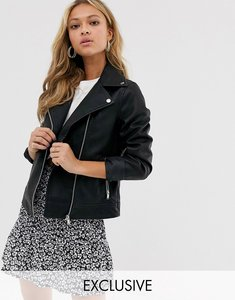 Read more about New look leather look biker jacket - black