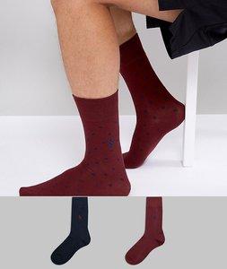 Read more about Polo ralph lauren 2 pack socks plain spot egyptian cotton in navy burgundy - burgundy