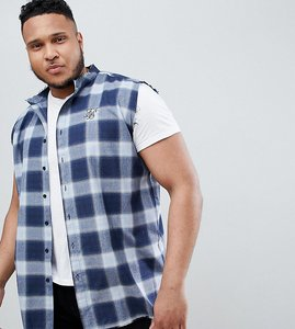 Read more about Siksilk sleeveless muscle shirt in blue check exclusive to asos - blue
