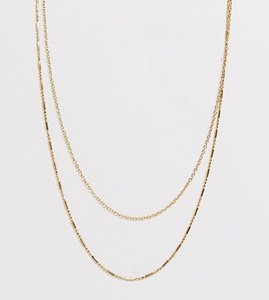 Read more about Designb double chain necklace in gold exclusive to asos