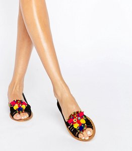 Read more about Asos jeana suede pom embellished summer shoes - black