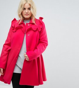 Read more about Asos curve skater coat with frills - pink