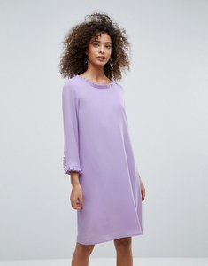 Read more about Traffic people long sleeve shift dress with frill detail - lilac