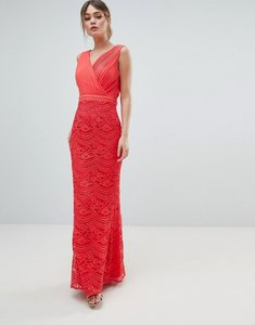 Read more about Little mistress lace maxi dress with bow back detail - coral