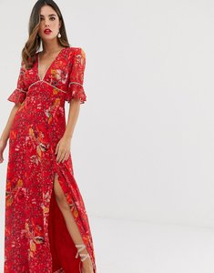 Read more about Hope ivy plunge front maxi dress with fluted sleeve in red floral print