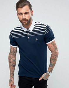 Read more about Original penguin pique polo gradient stripe slim fit small logo in navy - dark sapphire