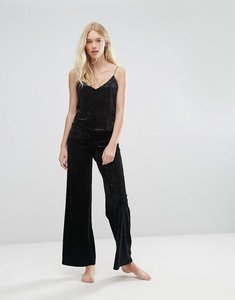 Read more about Boux avenue black vevlet palazzo pyjama pant - black