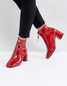 Read more about Asos rosemary patent mid heeled boots - red
