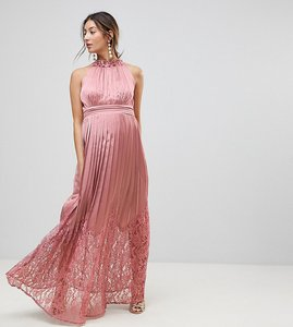 Read more about Little mistress maternity ruffle high neck maxi dress with lace pleated skirt - rose