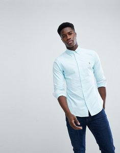 Read more about Polo ralph lauren slim fit button down collar oxford shirt with multi polo player logo in light blue