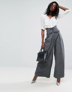 Read more about Asos corset detail wide leg trouser - grey