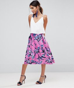 Read more about Asos scuba midi prom skirt with scallop hem in floral print - floral print