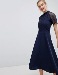 Read more about Liquorish a line lace detail midi dress - navy