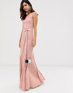 Read more about City goddess all over lace maxi dress with belt detail