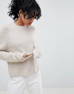 Read more about Asos design fluffy jumper in rib - oatmeal