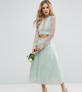 Read more about Asos petite bridesmaid lace prom skirt - mint
