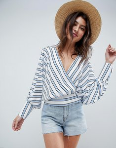Read more about Asos design batwing plunge top in blue white stripe - multi