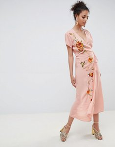 Read more about Miss selfridge maxi dress with embroidery and cap sleeve - pink