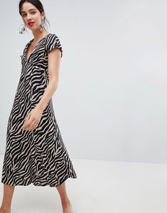 Read more about Stradivarius tiger print v front dress - multi