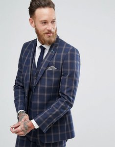 Read more about Harry brown slim fit blue check windowpane suit jacket - navy