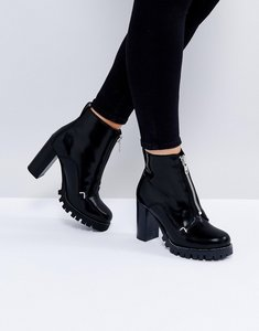 Read more about Asos enzo leather zip heeled boots - black box leather