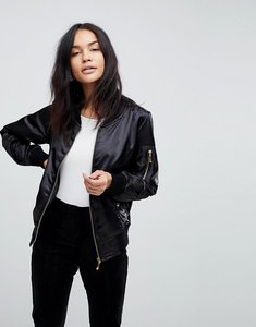 Read more about Lasula satin bomber jacket - black