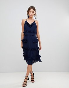 Read more about True decadence premium pleated ruffle skater dress - navy