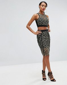 Read more about Rare london panelled pencil skirt in contrast lace - black yellow