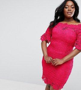 Read more about Paper dolls plus off shoulder bardot crochet dress - fuschia