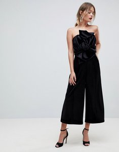 5dcfb35f144 Read more about Asos jumpsuit with knot and drape detail in velvet - black