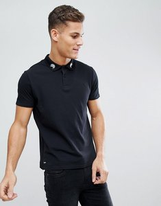 Read more about Threadbare embroidered collar polo shirt - black