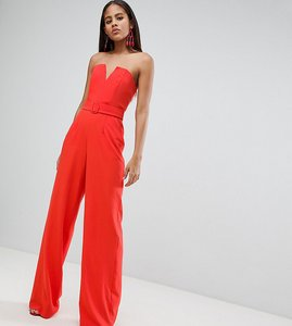 Read more about Asos design tall jumpsuit with structured bodice and wide leg - blood orange