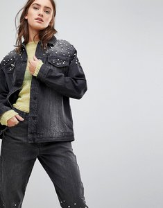 Read more about Chorus pearl embellished oversized denim jacket - black
