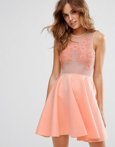 Read more about Asos lace applique mesh mix skater mini dress - nude