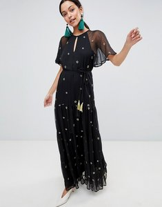 Read more about Traiffc people short sleeve star print chiffon belted maxi dress - black gold
