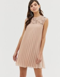 Read more about Asos design sleeveless trapeze pleated mini swing dress with embellished yoke