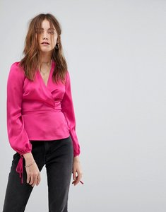 Read more about Glamorous wrap front top with wide tie sleeves in satin - hot pink
