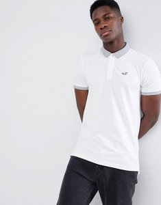 Read more about Hollister contrast detail collar seagull logo pique polo in white - white