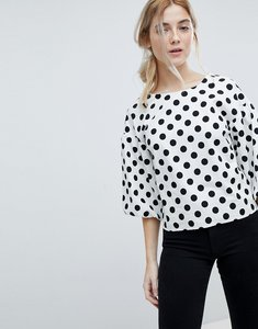 Read more about Miss selfridge puff sleeve polka dot top - multi