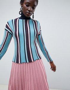 Read more about Asos design vertical stripe metallic jumper in eco yarn - multi