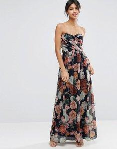 Read more about Asos wedding chiffon bandeau large floral maxi dress - multi