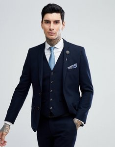 Read more about Harry brown navy basket weave slim fit suit jacket - navy
