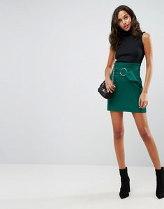 Read more about Asos tailored mini skirt with metal circle buckle - green