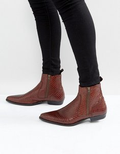 Read more about Asos chelsea boots in brown leather with snake detail - brown