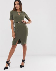 Read more about Paper dolls 3 4 sleeve belted midi dress with keyhole detail