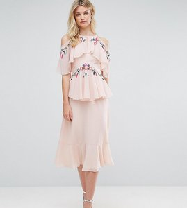 Read more about Frock and frill tall floral embroidered cold shoulder tiered midi dress with open back detail - ligh