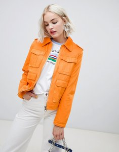 Read more about Asos western pocket detailed leather look jacket - orange