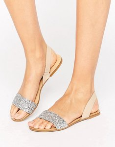 Read more about Asos faro leather sling back flat sandals - glitter